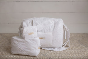 White Lace Sheer Diaper Bag set of 3 items