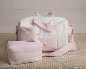 Royal Pique Ivory & Pink Diaper Bag set of 3 items