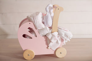 Pink Paisley Wooden Baby Stroller 7 Piece Gift Sets