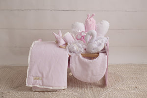 White Pearl Dots On Pink Wooden Doll Crib Gift Set