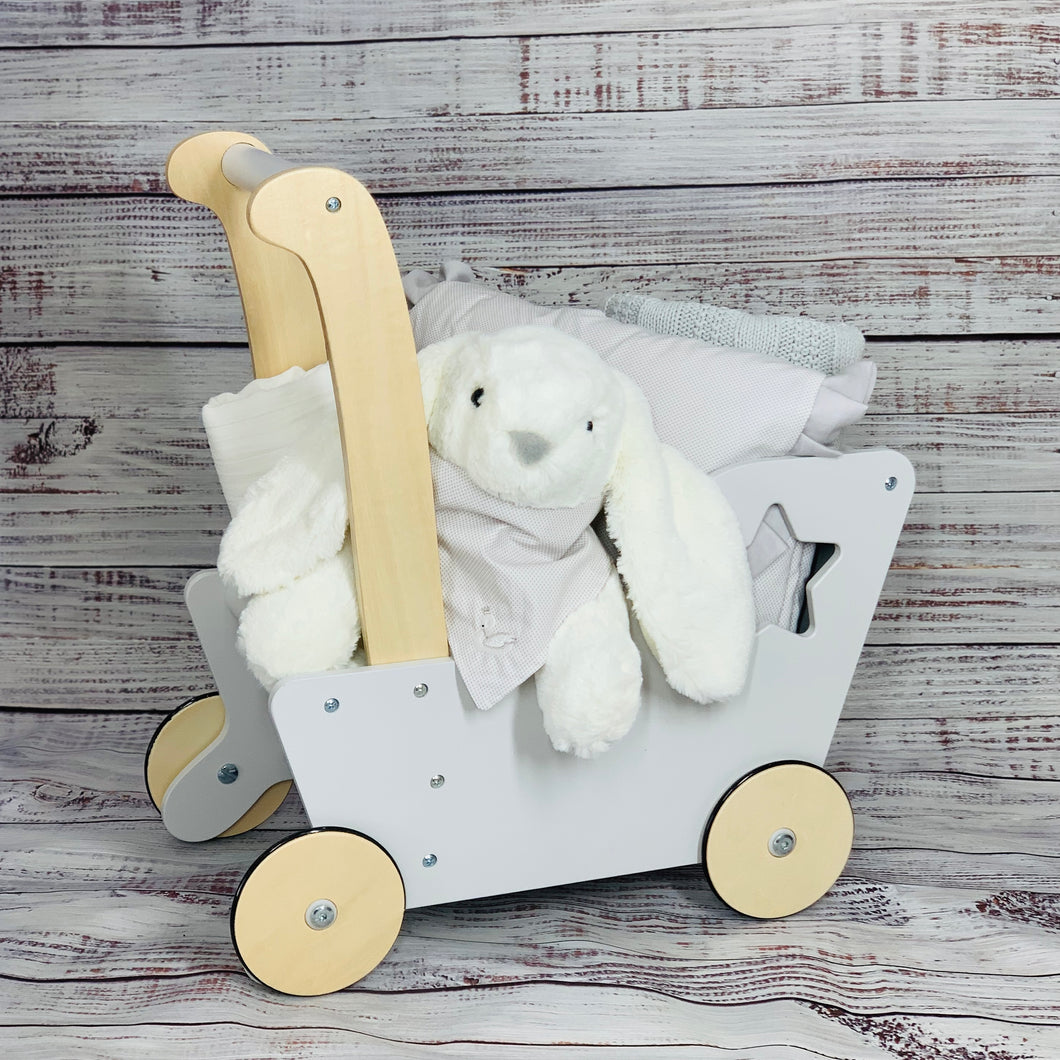 Wood Stroller Gray and white dots Collection 6 Pieces Gift Set