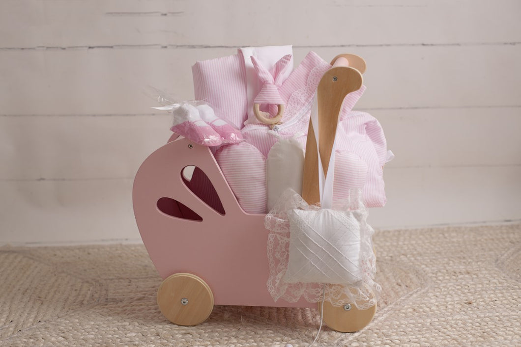 Pink Stripes Wood Stroller 7 Pieces Gift Set