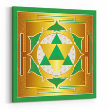 Load image into Gallery viewer, Seed of Life Merkaba Yantra (Green) on Square Canvas - Type B