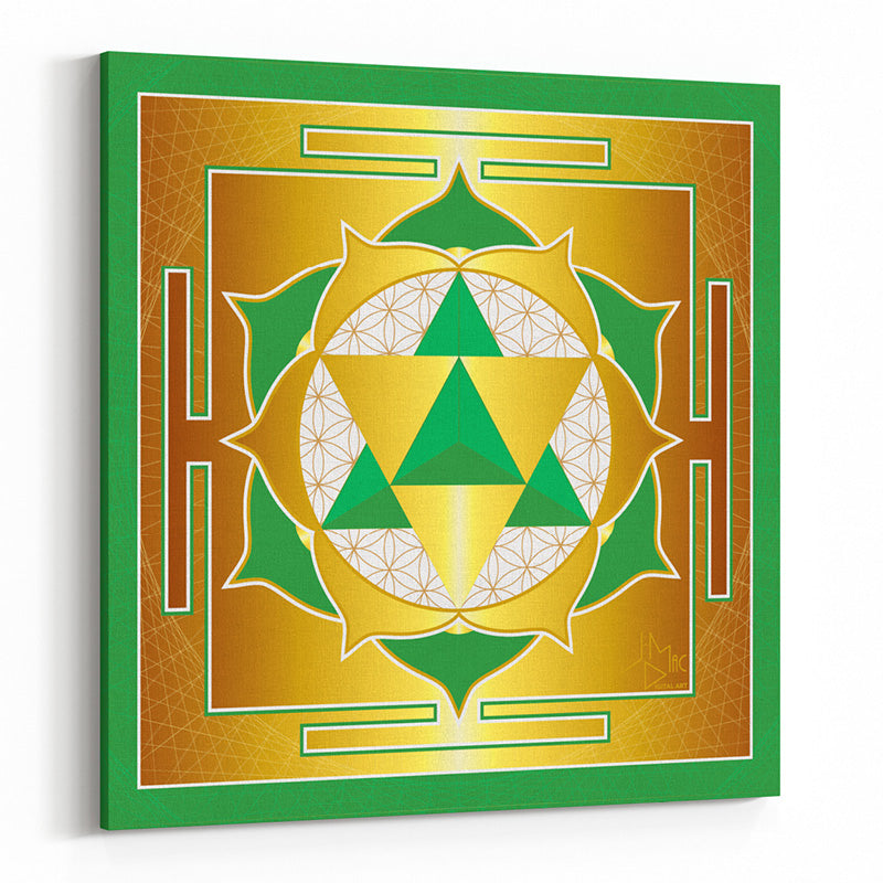 Seed of Life Merkaba Yantra (Green) on Square Canvas - Type B