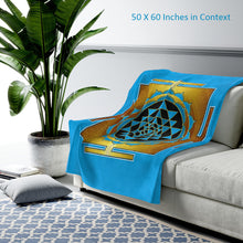Load image into Gallery viewer, Sri Yantra Cyan Velveteen Plush Blanket