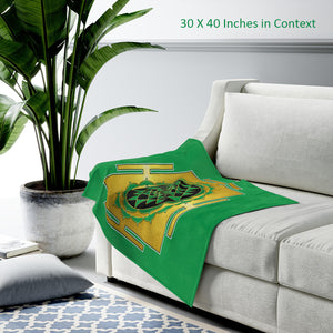 Sri Yantra Green Velveteen Plush Blanket