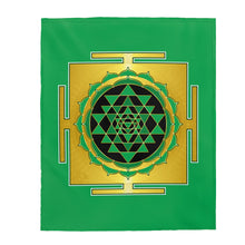 Load image into Gallery viewer, Sri Yantra Green Velveteen Plush Blanket