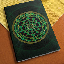 "Load image into Gallery viewer, Sri Yantra Softcover Notebook Journal (Green) 7"" x 10"" Blank, Lined, Graph, or Dot Grid"