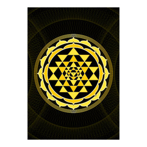 "Sri Yantra Softcover Notebook Journal (Yellow) 7"" x 10"" Blank, Lined, Graph, or Dot Grid"