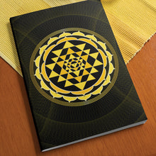 "Load image into Gallery viewer, Sri Yantra Softcover Notebook Journal (Yellow) 7"" x 10"" Blank, Lined, Graph, or Dot Grid"