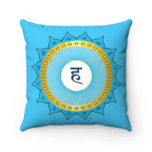 Load image into Gallery viewer, Throat Chakra Spun Polyester Square Pillow