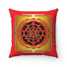 Load image into Gallery viewer, Sri Yantra Red Spun Polyester Square Pillow