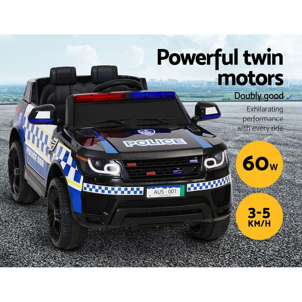 Rigo Kids Ride On Car Inspired Patrol Police Electric Powered Toy Cars Black Toys & Games NExXG