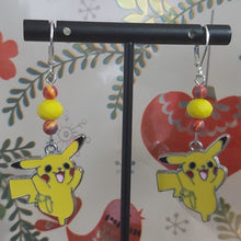 Load image into Gallery viewer, Handmade Pikachu Earrings.