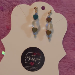 Simple Studded Heart Dangles. Style: Heart On Ice