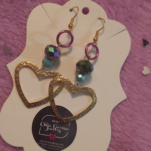 Handmade Rainbow Heart Dangles. Style: Heart Of Many Colors