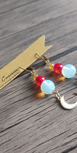 Load image into Gallery viewer, Handmade Opal Moon Earrings. Style: Blood moon