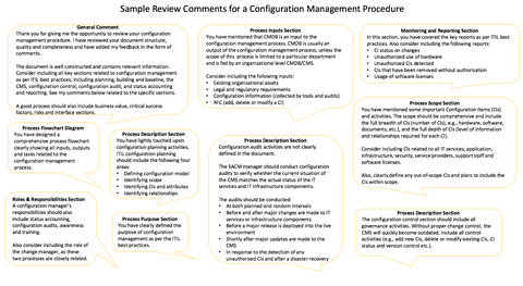 ITIL Expert Document Review Service - Sample Comments
