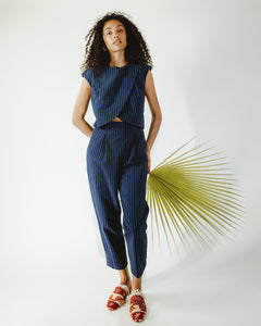 Crossover Jumpsuit in Blue Stripe