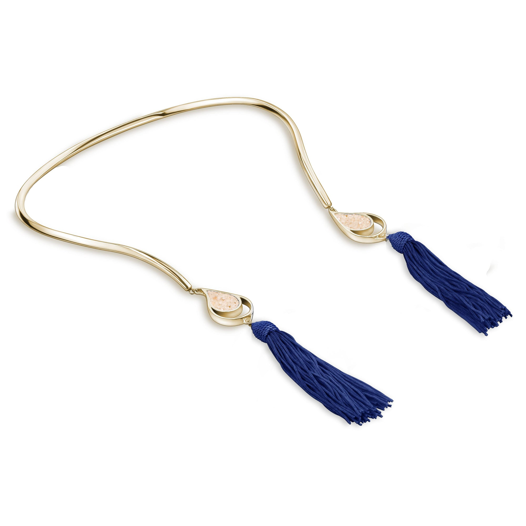 GOLD OPEN CHOKER NAVY TASSELS