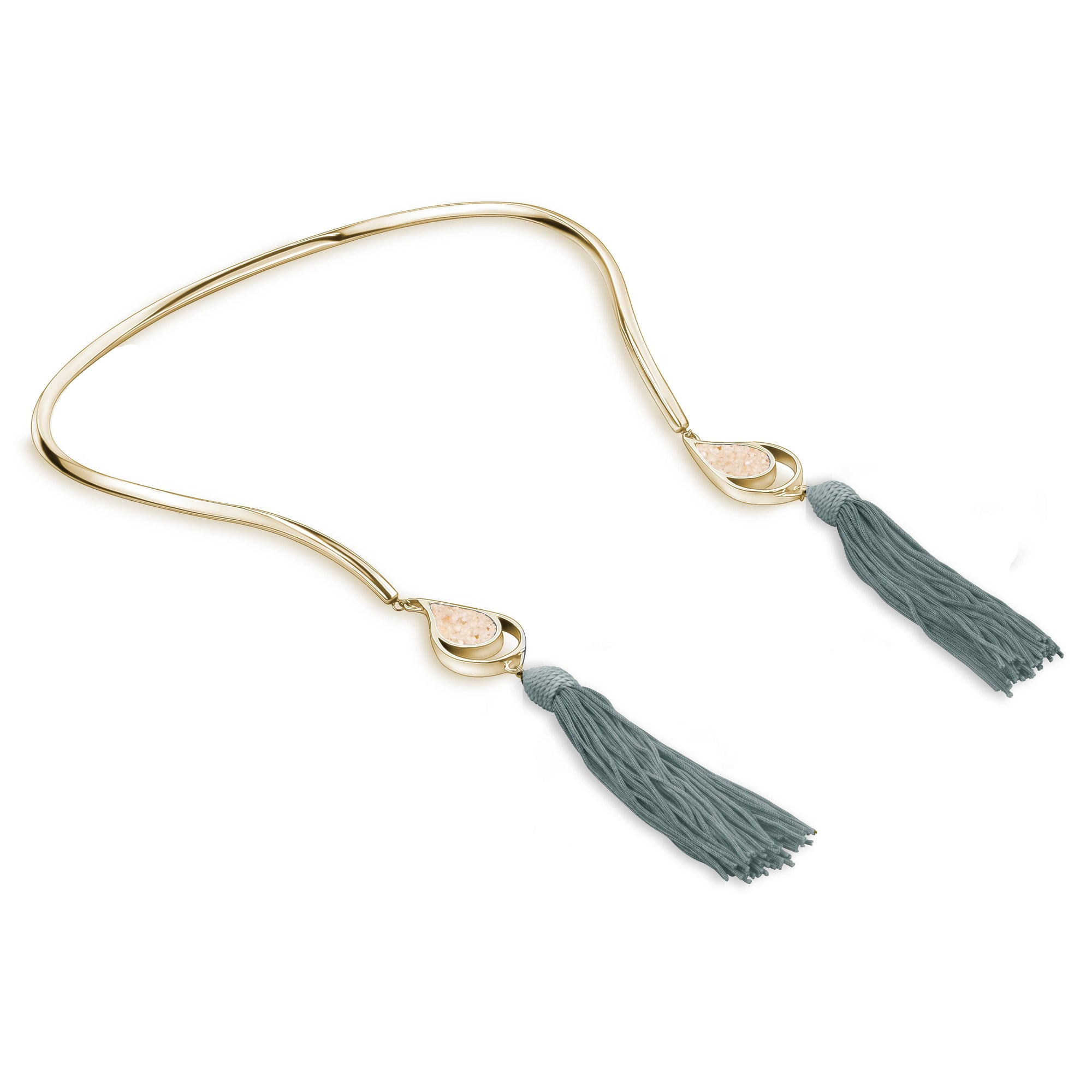 GOLD OPEN CHOKER GRAY TASSELS