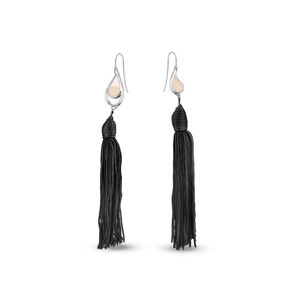 SILVER SEA & SAND EARRINGS BLACK TASSELS