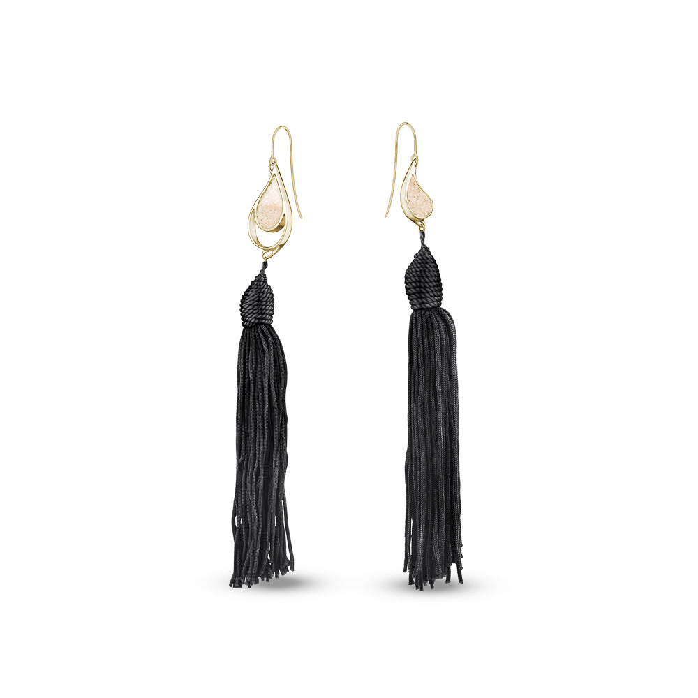 GOLD SEA & SAND EARRINGS BLACK TASSELS