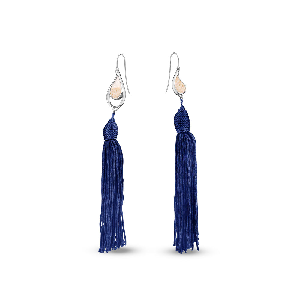SILVER SEA & SAND EARRINGS NAVY BLUE TASSELS