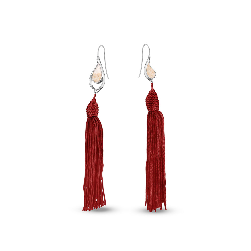 SILVER SEA & SAND EARRINGS RED TASSELS