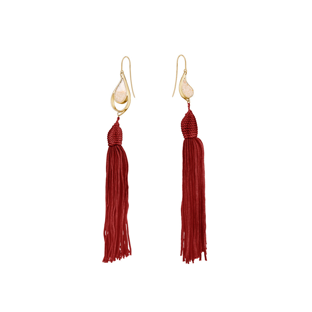 GOLD SEA & SAND EARRINGS RED TASSELS