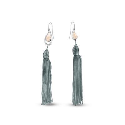 SILVER SEA & SAND EARRINGS GREY TASSELS