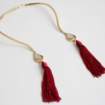 GOLD OPEN CHOKER RED TASSELS
