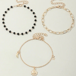 Black Beads Moon Star Sun Charms Anklets for Women Gold Color