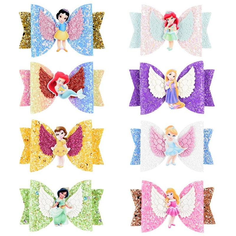 Princess Glitter Hair Bows with Clip