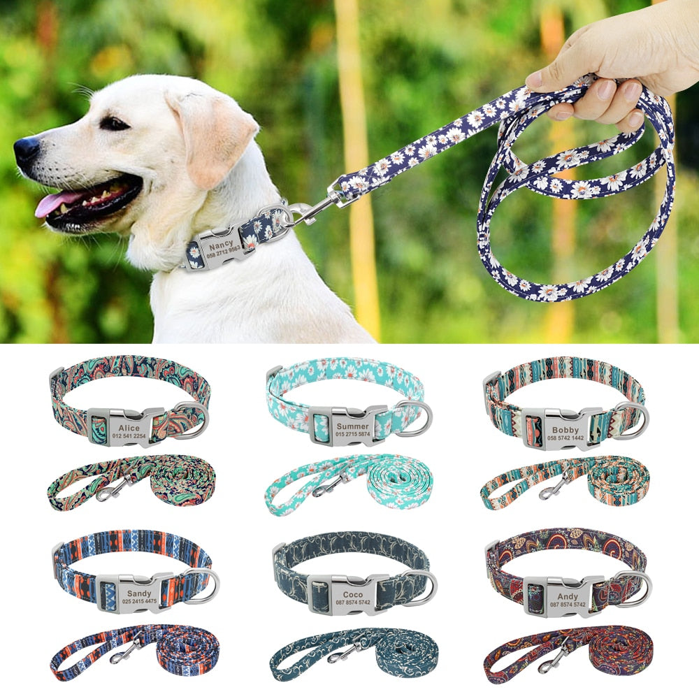 Dog Collar Leash Personalized with Name and Number