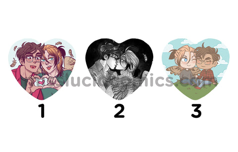 Avialae Heart Buttons - BL Webcomic ocs