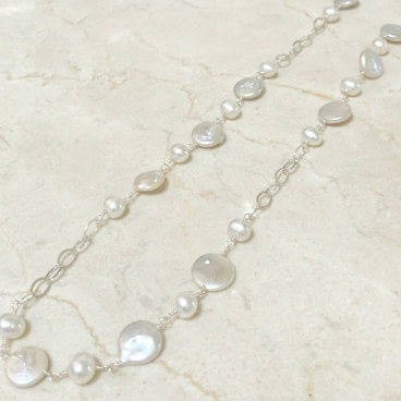 Silver chain and coin pearl necklace