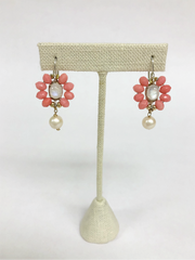Coral, moonstone and pearl earrings