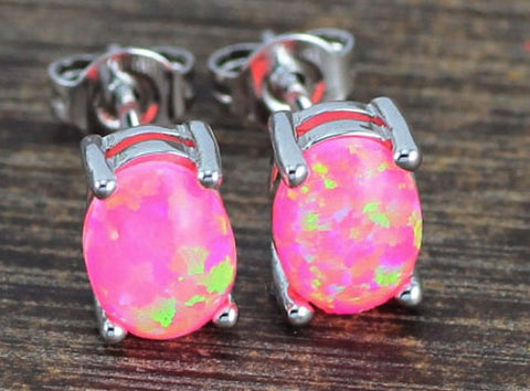 Pink Yellow Oval Fire Opal Earrings