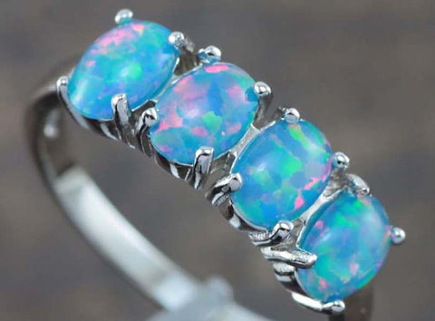Quadruple Blue Fire Opal Ring - Sic Tranist Gloriaa
