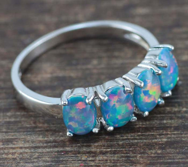 Quadruple Blue Fire Opal Ring