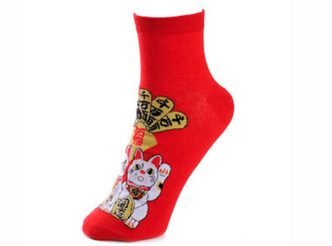 Lucky Cat Red Socks - Sic Tranist Gloriaa