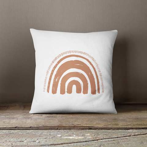 Boho Tan Rainbow Pillow - Sic Tranist Gloriaa