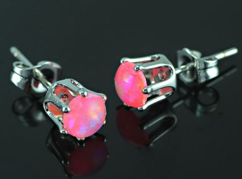 Pink Fire Opal Bulb Earrings