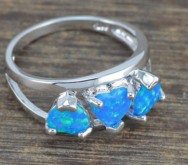 Blue Fire Opal Hearts Ring