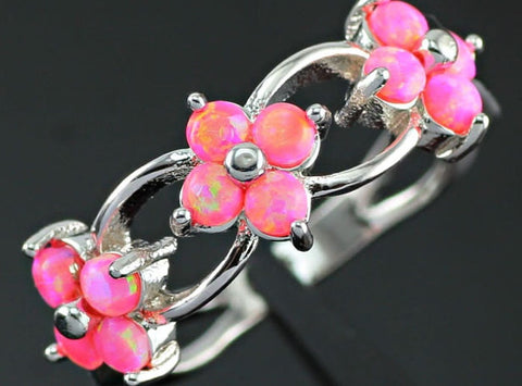 Miss Penny Lane Floral Pink Fire Opal Ring - Sic Tranist Gloriaa