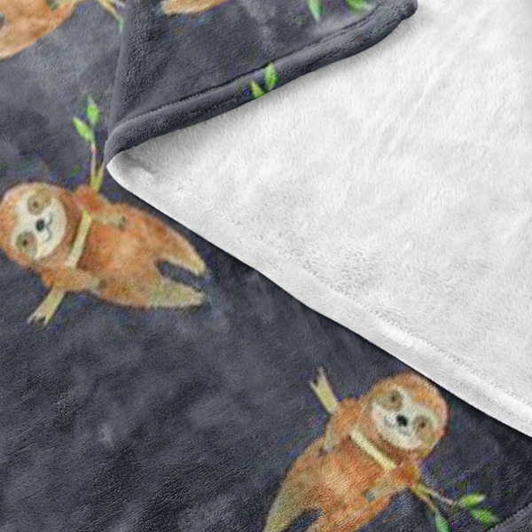 Deep Blue Sloth Plush Cozy Blanket - Sic Tranist Gloriaa