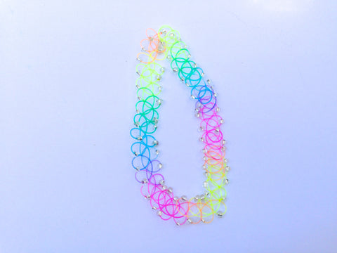 Beaded Rainbow Tattoo Choker - Sic Tranist Gloriaa