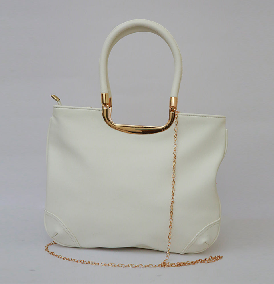 Currency White Hand Bag