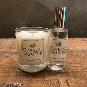 Cavalry Court Cypress and Suede Candle and Spray Combo